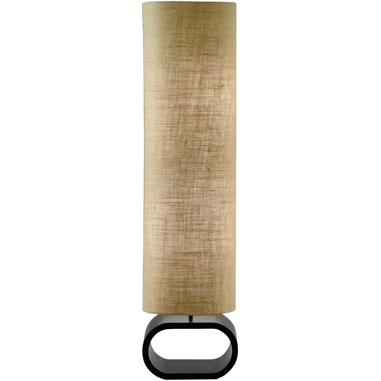 Cylinder Shape Medium Brown Burlap Floor Lamp with Bent Wood Base