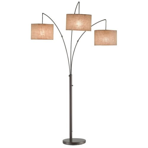 Modern 3-Light Arch Floor Lamp in Antique Bronze with Drum Style Shades