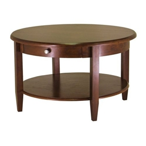 Circular Round Coffee Table in Antique Walnut Finish
