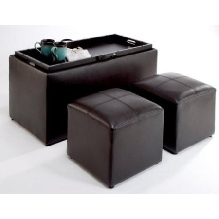 Faux Leather Storage Bench Coffee Table with 2 Side Ottomans