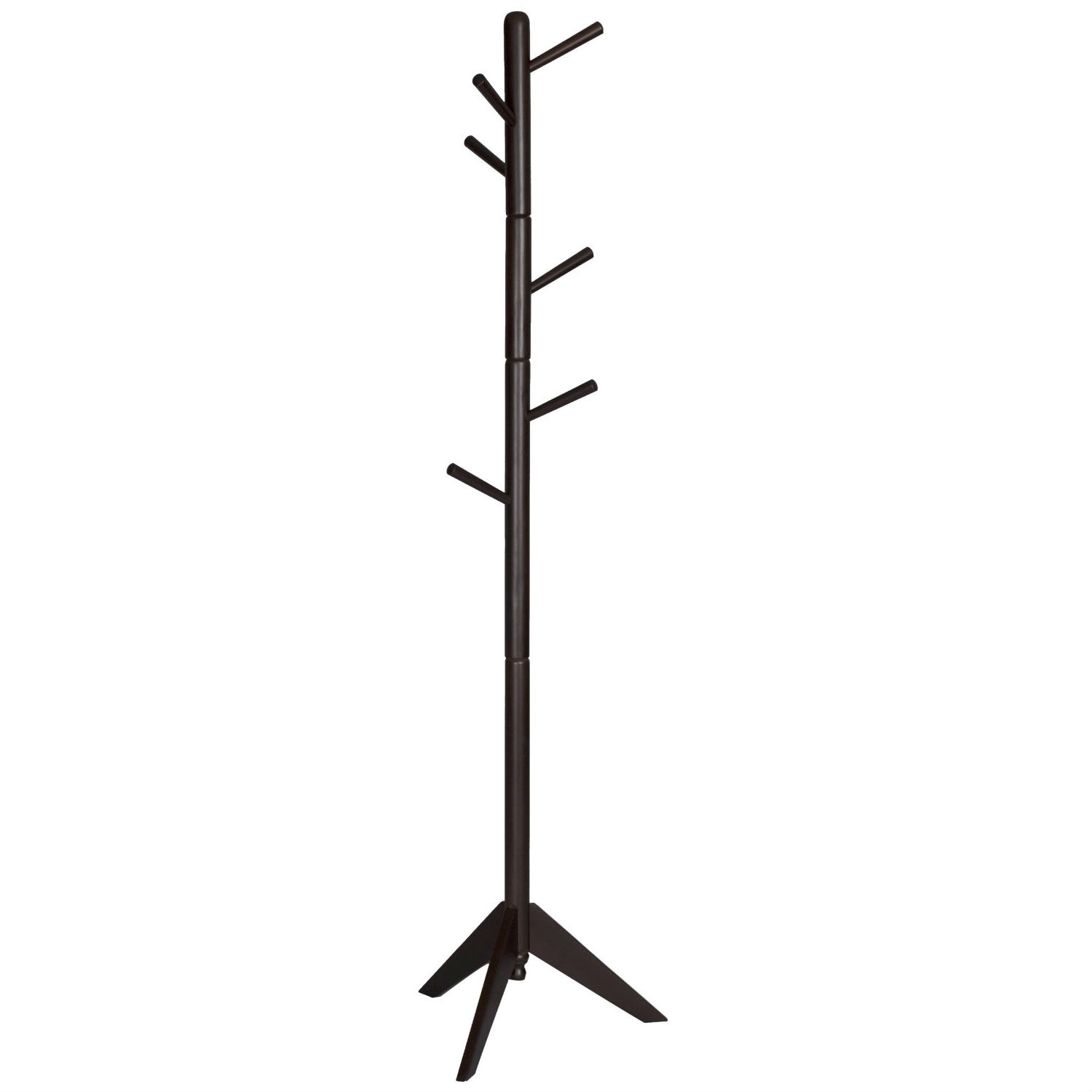 Espresso Wood Finish Coat Rack Entryway Hall Tree Hat Rack
