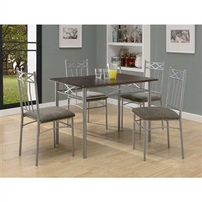 5-Piece Dining Set in Silver Metal with Cappucinno Table Top