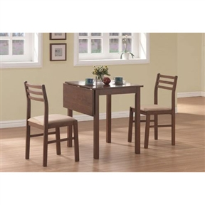 3-Piece Drop-Leaf Square Dining Set in Walnut Finish