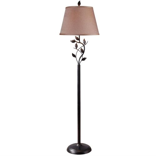 Vine Leaves Rubbed Bronze Finish Floor Lamp with 15-inch Gold Tapered Shade