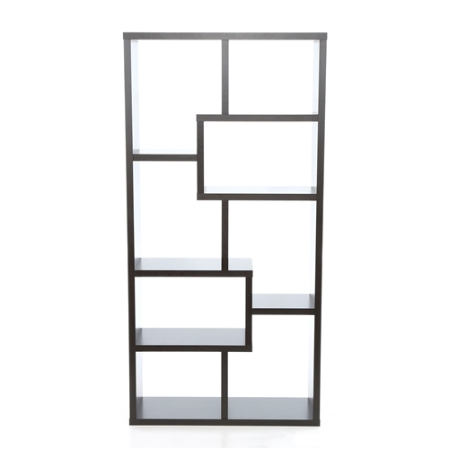 Modern 70.75-inch High Display Cabinet Bookcase in Black Wood Finish